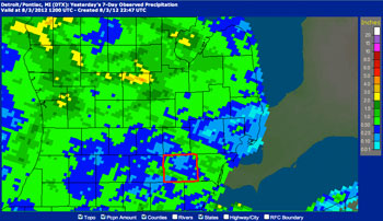 National Weather Service precipitation map for 7-day period from July 27 through Aug. 2.  Washtenaw County is outlined in red. Dark blue regions received up to 0.5 inches of rain. Light blue indicates up to 0.25 inch of rain.