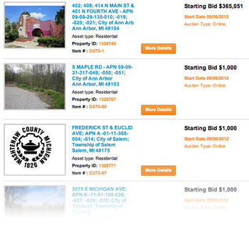 Screenshot of auction.com Washtenaw County listings for Sept. 6.