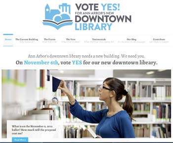 Screenshot of Our New Library website