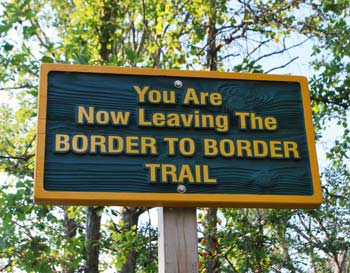 Border to Border Trail sign near the Hudson Mills Metropark