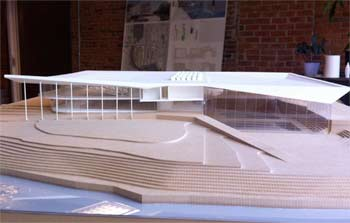 Model of a conceptual design for a new recreation center in downtown Ypsilanti