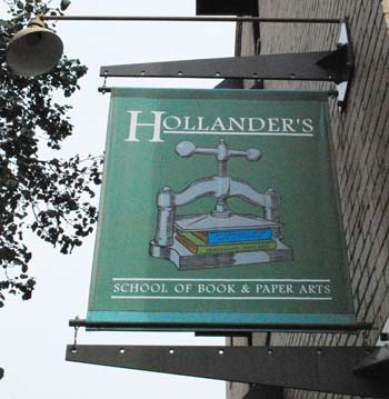 Sign above the entrance to Hollanders School of Book & Paper Arts