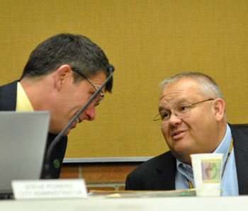 Left to right: city administrator Steve Powers and public services area administrator Craig Hupy.