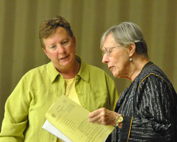 Left to right: Sandi Smith (Ward 1) and former councilmember and planning commissioner Jean Carlberg.