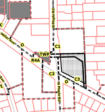 Speedway rezoning. The perimeter around the property on the east and north sides is zoned PL (public land) and is being rezoned to make clear that, although an easement exists, the responsibility for the propert is the private owners.