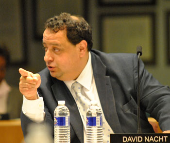 David Nacht makes a point during the meeting.
