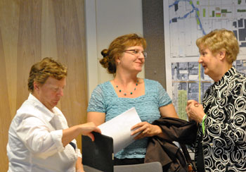 Left to right: DDA board member Sandi Smith, Ann Arbor Housing Commission executive director Jennifer L. Hall, and DDA board chair Leah Gunn.