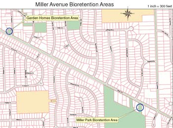 Map showing planned bioretention areas along Miller Avenue