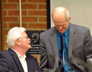Left to right: Mike Anglin (Ward 5) and mayor John Hieftje