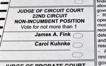 Ballot for 22nd circuit court race