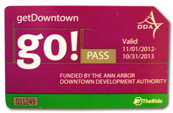 This is previous edition of the go!pass, subsidized by the Ann Arbor Downtown Development Authority. A swipe through the fare box of an AAATA bus lets its holder ride AAATA buses an unlimited number of times.