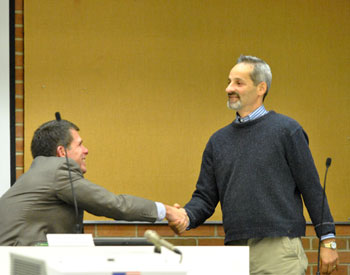 From left: city administrator Steve Powers and chair of the city's greenbelt advisory commission Dan Ezekiel.