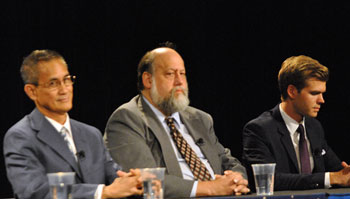 Left to right: Republican Owen Diaz, Green David McMahon and Democrat Adam Zemke