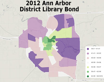 2012 Library Bond (in person only) Results from outer townships not included.