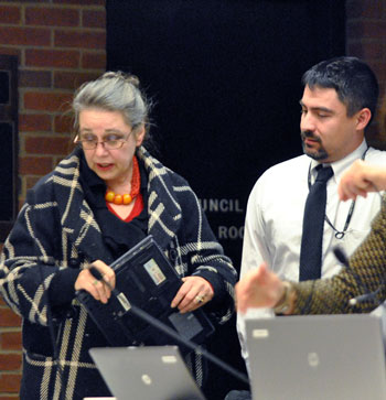 Sabra Briere (Ward 1) and Paul Fulton, with the city's IT department.