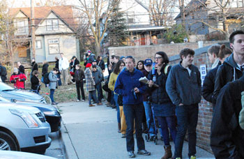 LIne to vote at the Ann Arbor Community Center on North Main Street on Election Day Nov. 6, 2012.