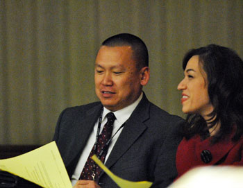 Ann Arbor chief of police John Seto and Samantha Brandfon