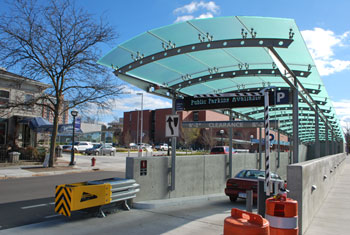 Fifth Avenue speed ramp entrance to Library Lane parking garage