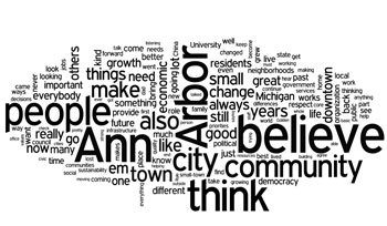 "Wordle word cloud based on Ann Arbor city councilmembers remarks in response to the assignment to speak about ""What I Believe."" It's offered for visual interest not as a meaningful analysis. The stacked arrangement of ""even small change always still good"" was generated by Wordles layout algorithm."