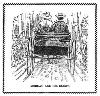 An illustration from Moreau's book depicts him and a confederate out to sell Bohemian oats.""