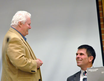 Left to right: Mike Anglin (Ward 5) and city administrator Steve Powers share a laugh before the meeting started.