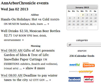 Screenshot of excerpt from Chronicle event listings