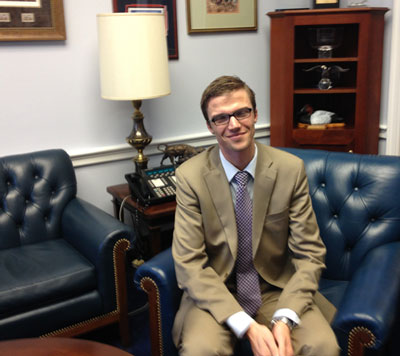 I interrogated an aide, Derek Dobies, hoping Henry would find his story interesting and perhaps inspiring: 2008 graduate from MSU in political theory, worked on the Dingell campaign and managed it in East Lansing. Took his picture in Rep. Dingell's office.