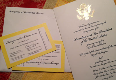 We also saw tlong with the tickets, which admit us to the Yellow zone for the ceremony, we were handed an over-the-top large engraved commemorative invitation to the ceremony with gold braid on it, and mechanically signed photos of the President and VP.  Planning to frame the invitation.he health care reform gavel (I touched it) and Rep. Dingell's motorized scooter in the corner of the office. I was interested to see that his desk was covered with papers. Unfortunately he was not in the offices at the time.Along with the tickets, which admit us to the Yellow zone for the ceremony, we were handed an over-the-top large engraved commemorative invitation to the ceremony with gold braid on it, and mechanically signed photos of the President and VP.  Planning to frame the invitation.