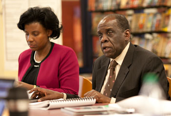 Alesia Flye and Arthur Williams, Huron High School principal