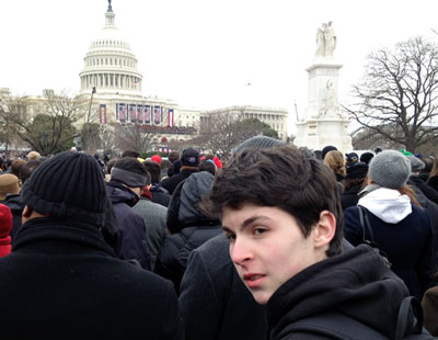 Listening to Barack Obama's inaugural address on Jan. 21, 2013.