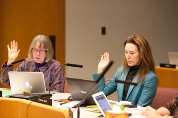 President Deb Mexicotte and vice president Christine Stead are sworn in as board officers.