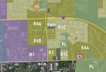 Current zoning of properties surrounding the parcel requested to be zoned at R3 (townhouse dwelling district).