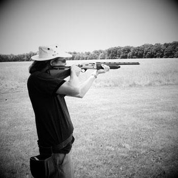 Shooting skeet.