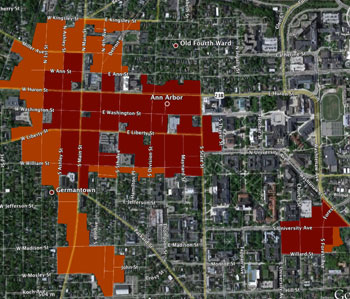 Ann Arbor zoning. Darker red areas are zoned D1. Lighter brownish areas are zoned D2.