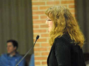 Executive director of the Ann Arbor Housing Commission Jennifer H. Hall addressed the city council at its Feb. 11 work session.