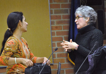 Sumi Kailasapathy (Ward 1) chats with Kathe Wunderlich before the Feb. 11, 2013 city council work session.