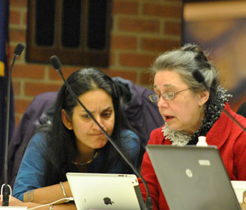 Left to right: Ward 1 councilmembers Sumi Kailasapathy and Sabra Briere