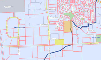 Parcel (shaded yellow) requested to be zoned as R3 (townhouse dwelling district). The blue boundary delineates the Malletts Creek watershed.