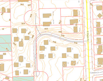 Two-foot contour map of the North Maple Estate property. The highest portion of the site is towards the north, where no units were built.