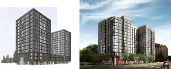 413 E. Huron project. Left is the original rendering considered by the planning commission. Right is an updated version presented to the city council on March 18, 2013