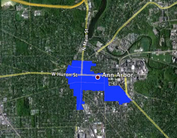 Ann Arbor Downtown Development Authority tax increment finance district is shown in blue.
