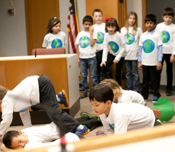 Performance art by Lawton Elementary teacher Susan Baileys 2nd grade class at the AAPS March 13, 2013 board meeting.