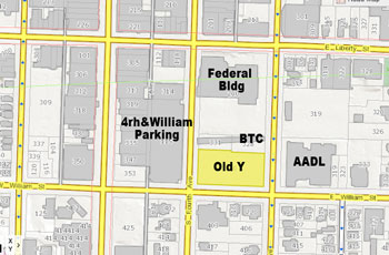Highlighted in yellow is the location of the former YMCA lot, which the city of Ann Arbor is preparing to sell. A $3.5 million balloon payment on the property is due at the end of 2013.