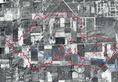 "Study ""smart map"" overlayed on 1940 historical aerial photography."