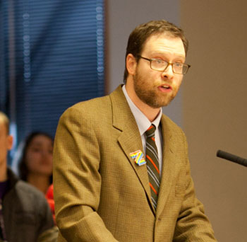 Kenneth McGraw, Community High English teacher, spoke in favor of maintaining block scheduling at Community