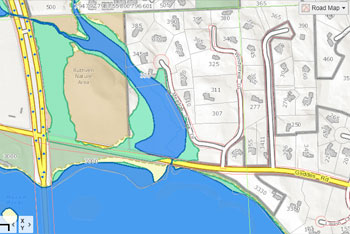 The parcel purchased by the city lies mostly within the floodplain as this image shows.