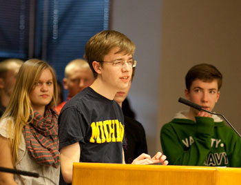 Jackson Tucker-Meyer spoke in favor of maintaining district funding for theater