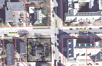 Aerial view of Theta Delta Chi property, at Monroe and State streets.