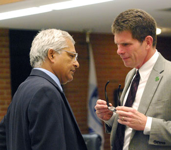From left: Community services area administrator Sumedh Bahl and city administrator Steve Powers