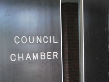 Door to Ann Arbor city council chambers